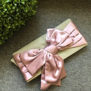 Handbags - Linen Satin Bow Clutch Purse